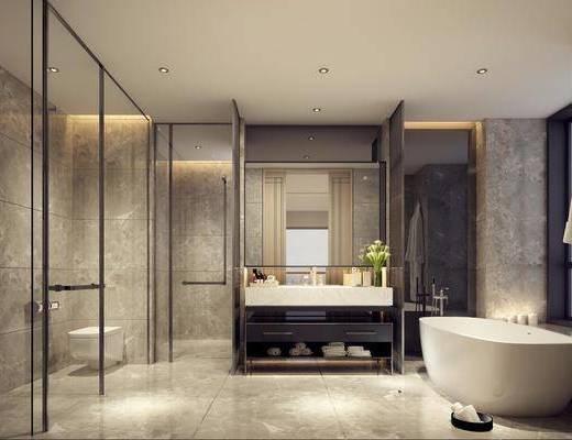 卫浴, 卫生间, 浴缸, 现代卫生间, 洗手台, 镜, 摆件, 毛巾, 现代