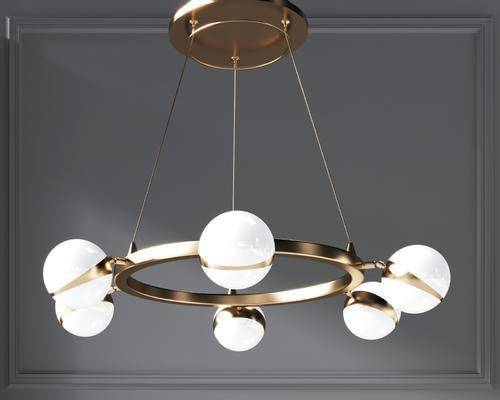 现代圆形金属吊灯