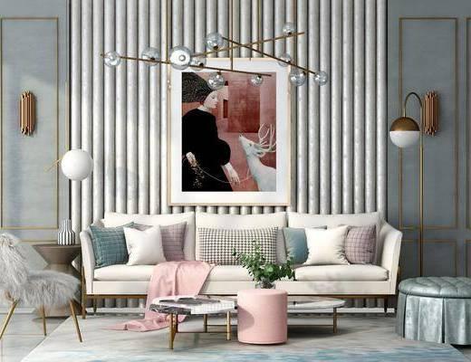 沙发组合, 沙发茶几组合, 吊灯壁灯组合, 摆件组合, 后现代
