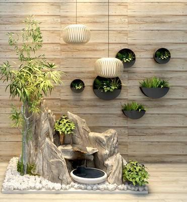 假山, 盆栽, 绿植, 灯具