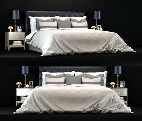 双人床, 床具, 床头柜, 台灯, 摆件, 装饰品, 花卉, 现代