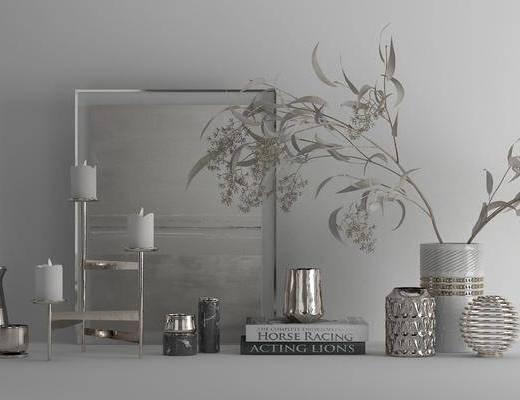 花艺饰品, 饰品摆件, 蜡烛, 工艺品摆件, 摆件组合, 现代