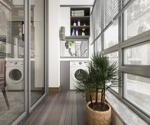 生活阳台, 洗手台, 洗衣机, 储物柜, 盆栽