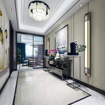 玄关, 走廊, 过道, 玄关台, 边柜, 摆件, 新中式, 中式