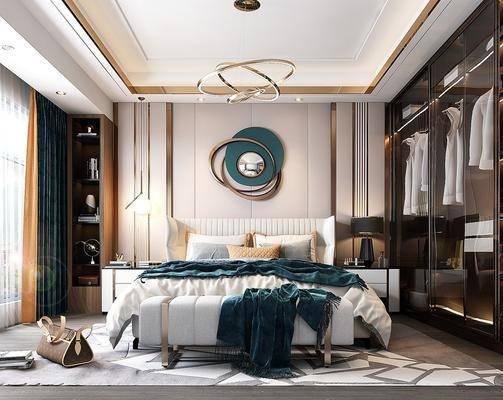 现代卧室, 轻奢卧室, 双人床, 墙饰, 衣柜