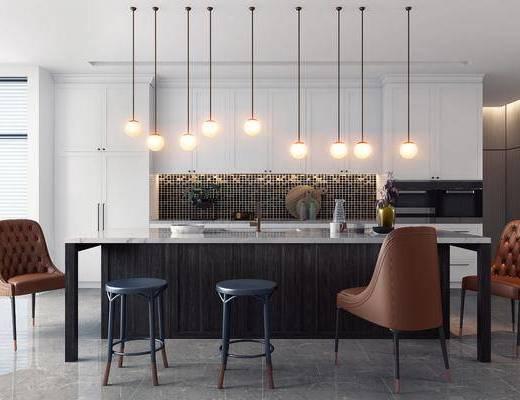 餐厅, 吧椅, 单椅, 吊灯, 吧台