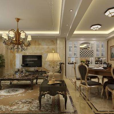 欧式客厅, 餐厅, 沙发组合, 餐桌椅, 欧式卧室