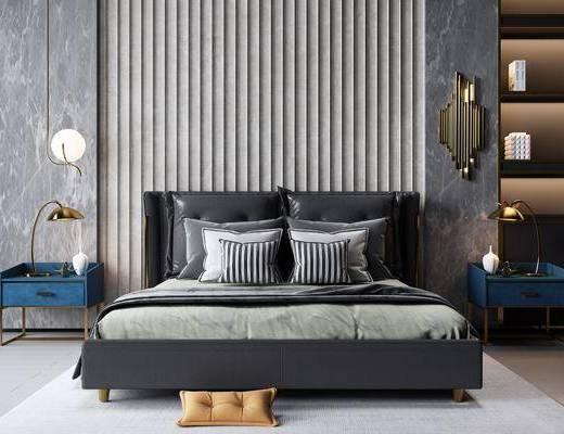 双人床, 床具组合, 吊灯, 床头柜, 地毯