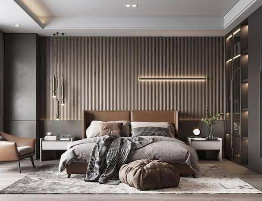 现代, 轻奢, 主卧室, 家装
