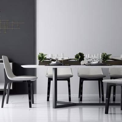餐桌, 餐椅, 餐具, 酒杯, 摆件, 边几, 现代