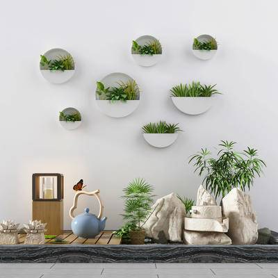 植物, 绿植, 假山, 茶壶, 墙饰, 装饰