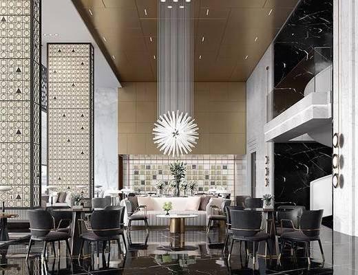 售楼处, 桌椅组合, 吊灯, 沙发组合, 茶几, 摆件组合