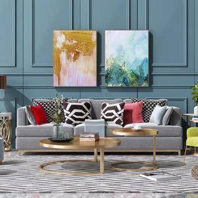 沙发组合, 茶几, 边几, 摆件, 现代沙发茶几组合, 单椅, 单人沙发, 只, 盆栽, 圆几, 挂画, 台灯, 沙发凳, 现代, 轻奢, 装饰品