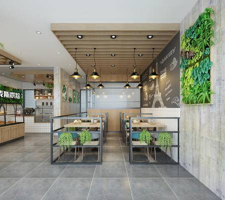 吊灯, 绿植墙, 桌椅组合, 展示柜