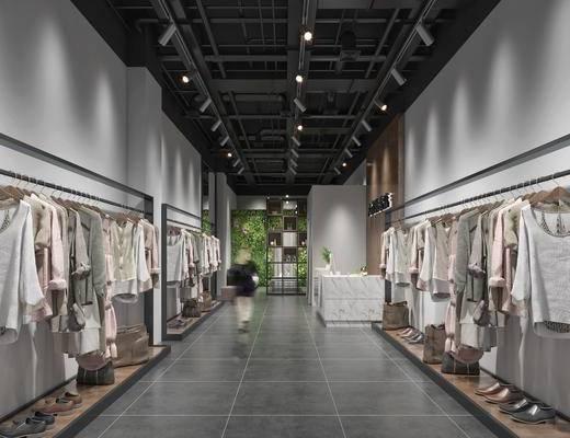 服装店, 现代, 店铺, 衣架, 衣服, 服饰
