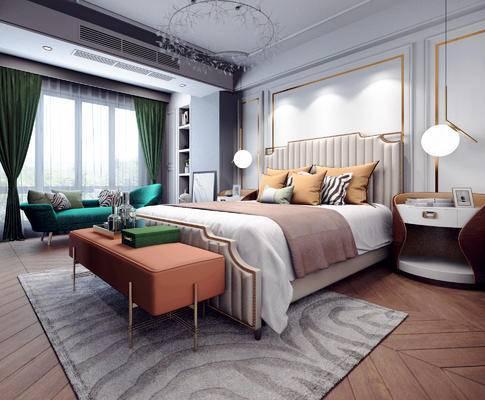 金属吊灯, 休闲沙发, 床头柜, 床尾踏, 双人床