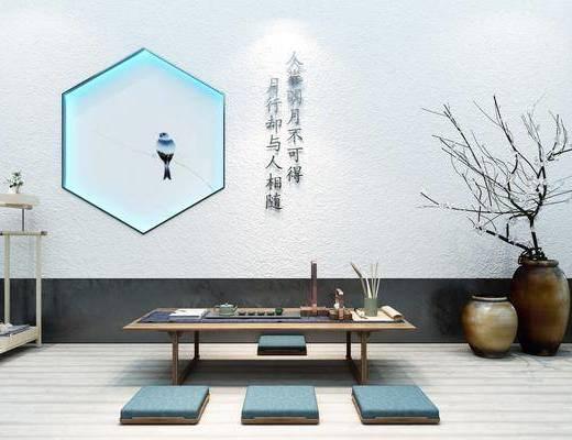 桌椅组合, 茶室, 茶桌, 茶具, 花瓶花卉, 墙饰, 新中式