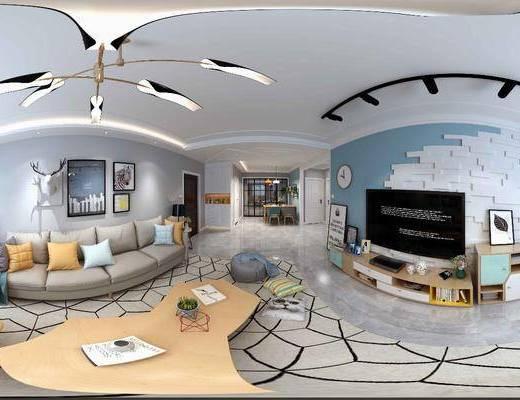 客厅全景, 全景, 现代客厅
