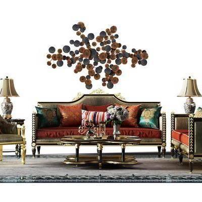 多人沙发, 单人沙发, 边几, 茶几, 摆件, 台灯, 美式
