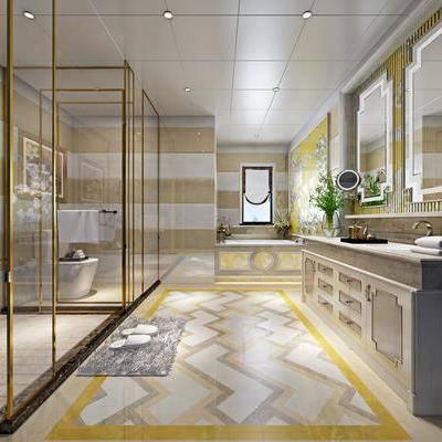 卫生间, 洗手台, 花洒, 马桶, 装饰镜, 浴缸, 装饰画, 挂画, 欧式