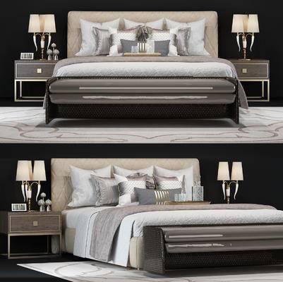 床, 床品, 床头柜, 台灯, 脚踏