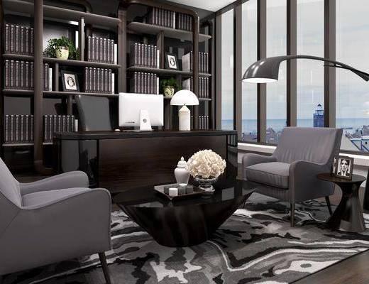 书房, 书桌, 单人椅, 茶几, 台灯, 书柜, 书籍, 落地灯, 单人沙发, 装饰品, 陈设品, 现代