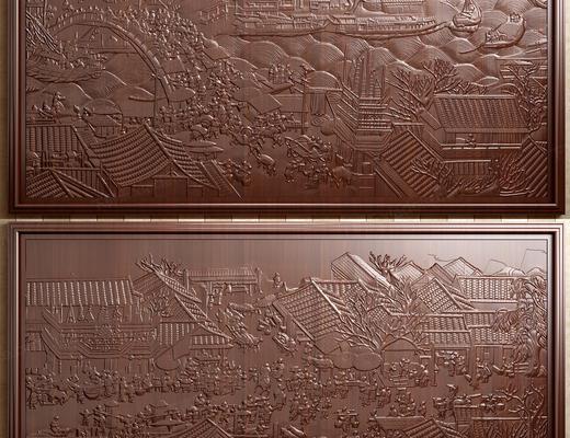 中式, 实木, 构件, 浮雕, 清明上河图