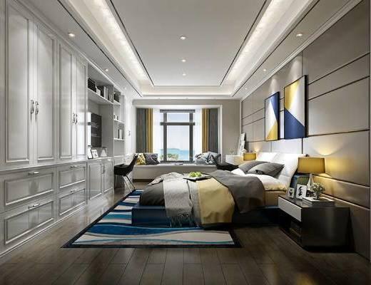 北欧卧室, 现代卧室, 北欧床, 衣柜, 椅子, 装饰画, 挂画, 床头柜