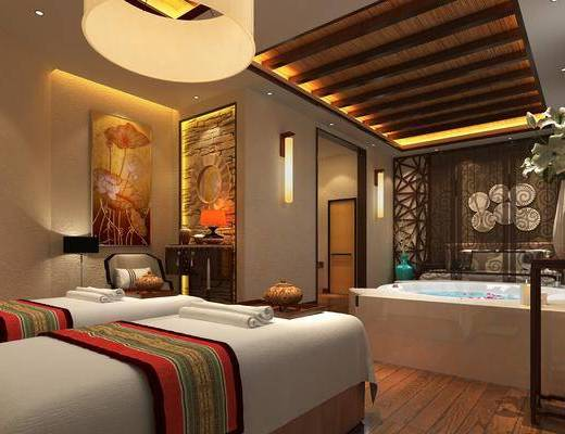 桑拿房, 单人床, 壁灯, 墙饰, 边柜, 摆件组合