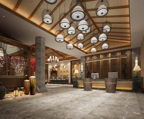 新中式大堂, 酒店大堂, 新中式前台, 新中式吊灯, 壁灯, 桌椅组合
