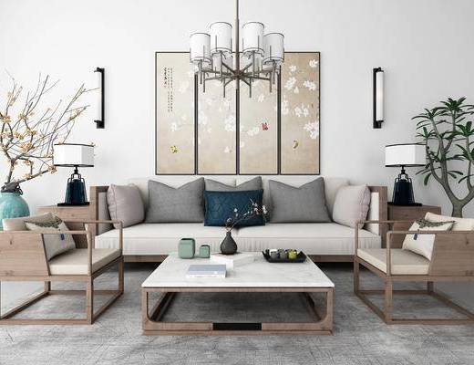 沙发组合, 茶几组合, 摆件组合, 新中式沙发组合, 吊灯
