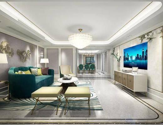 后现代客厅餐厅, 后现代, 后现代客厅, 后现代餐厅, 餐桌椅, 沙发, 电视柜, 现代吊灯