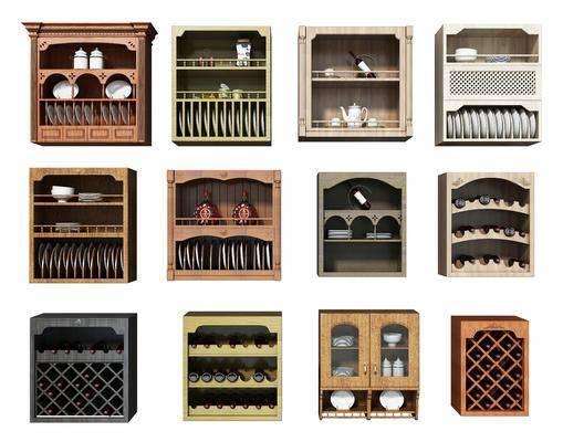 碗碟架组合, 装饰柜, 现代