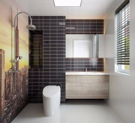 现代卫生间, 现代, 卫生间, 马桶, 镜子, 花洒