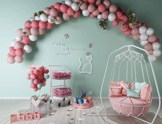 背景墙, 摆件组合, 装饰品, 气球
