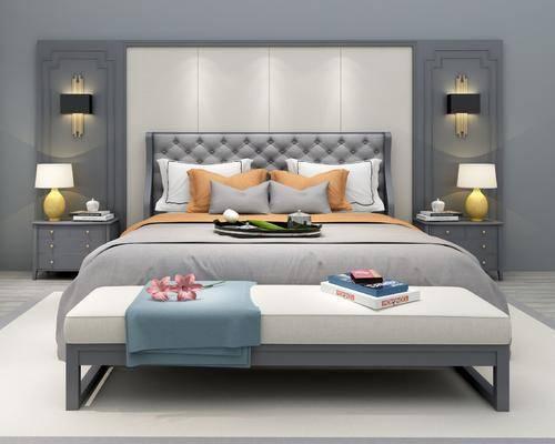 双人床, 床头柜, 床具, 摆件组合, 壁灯, 台灯, 床尾凳, 现代轻奢