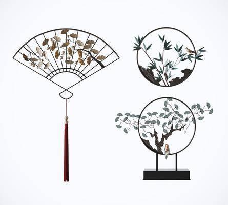鐵藝松柏, 墻飾組合, 裝飾擺件, 墻飾壁飾, 新中式