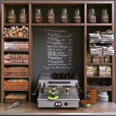 现代商品货架咖啡机餐具毛巾组合, 现代, 货架, 食物