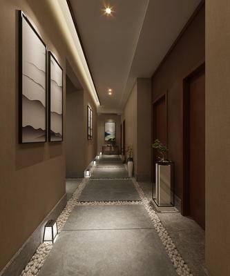 过道, 走廊, 新中式, 酒店过道, 盆景, 装饰画, 挂画