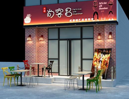 店铺, 门面, 门口, 桌椅, 椅子, 桌子