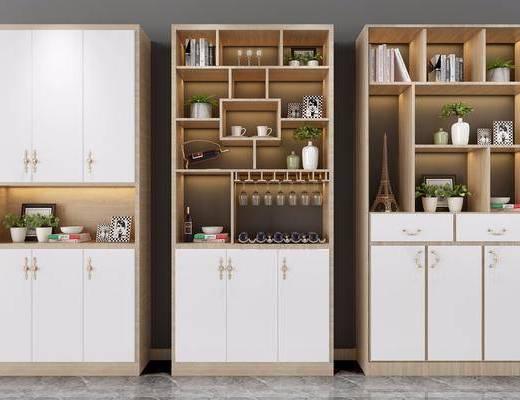 柜架组合, 装饰柜, 现代柜架组合, 鞋柜, 酒柜, 置物柜, 摆件, 植物, 盆栽, 现代, 北欧