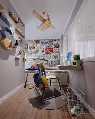 儿童房, 卧室, 榻榻米, 书桌, 单人椅, 摆件, 装饰品, 陈设品, 现代