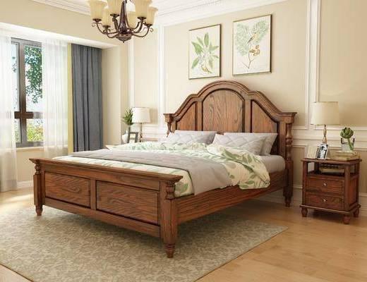 床具组合, 双人床, 床头柜, 台灯, 吊灯, 美式