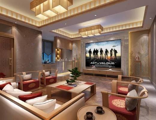 沙发组合, 茶几, 影音室, 屏幕