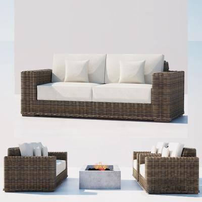 多人沙发, 藤编, 茶几, 抱枕, 现代