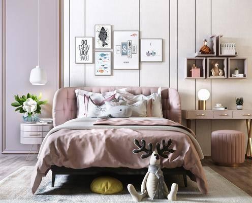 单人床, 床具组合, 梳妆台, 吊灯, 装饰画