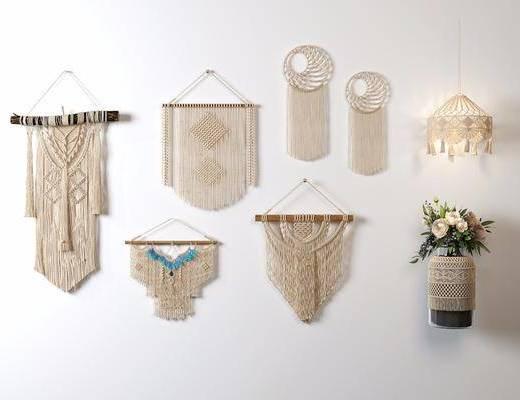 编织墙饰, 挂饰花瓶, 花瓶组合, 北欧