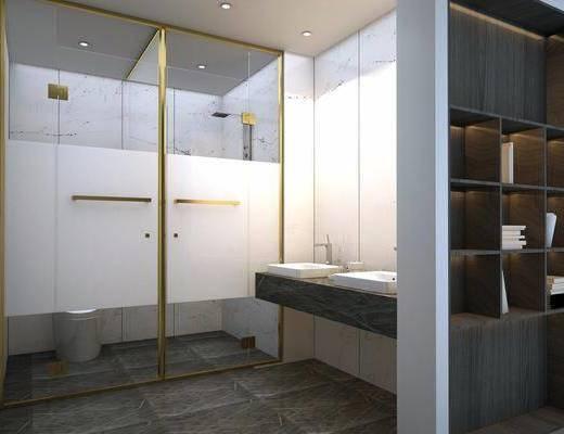 卫浴, 现代卫浴, 淋浴间, 摆件组合