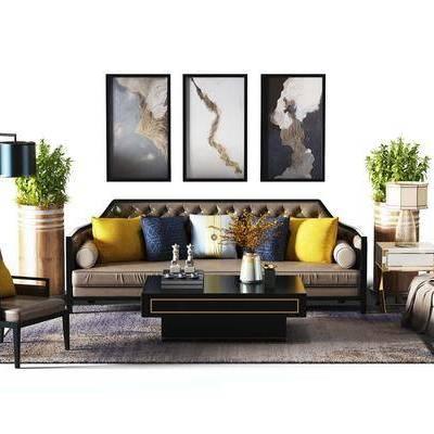 多人沙发, 单人沙发, 边几, 绿植, 茶几, 装饰画, 落地灯
