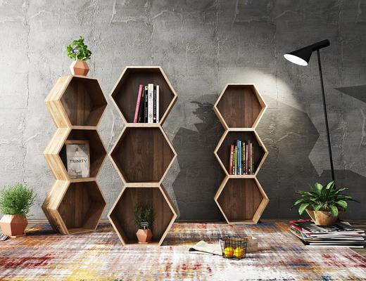 现代, 实木装饰架, 书籍, 落地灯